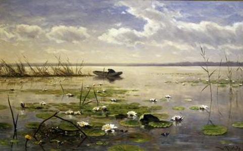 Waterlilies by Willem Roelofs Aberdeen Art Gallery and Museums Collection