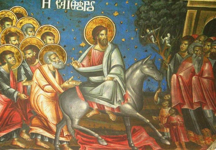 Αποτέλεσμα εικόνας για κυριακή των βαΐων παλια βυζαντινή εικόνα